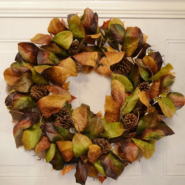 32 Deluxe Magnolia Leaf Wreath by Laurel Foundry Modern Farmhouse