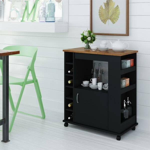 Fresh Worcester Kitchen Cart With Wood Top By Charlton Home Spacial Price