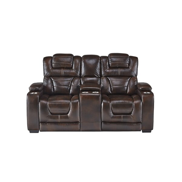 Heiner Leather Home Theater Loveseat by Alcott Hill
