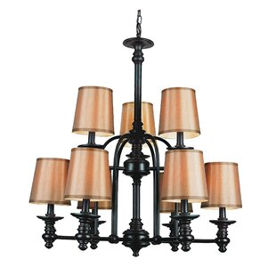 Modern Meets Traditional 9 Shaded Chandelier by TransGlobe Lighting