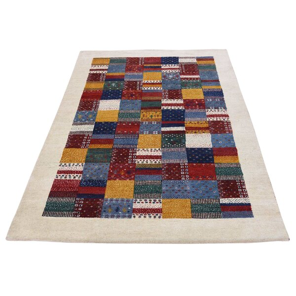 One-of-a-Kind Bagwell Patchwork Hand-Knotted Navy Blue Area Rug by Isabelline