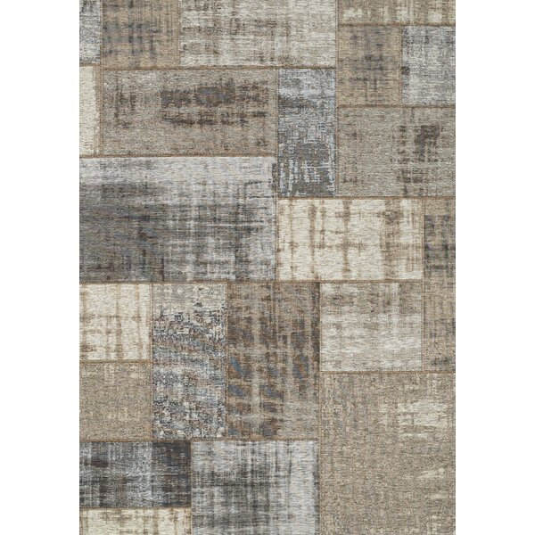 Emory Gray/Cream Distressed Patchwork Rug by 17 Stories