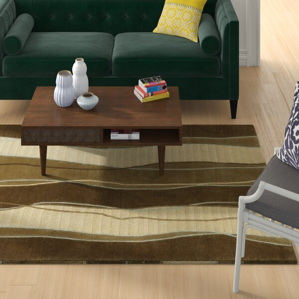 Hierius Hand Knotted Wool Cream/Brown Rug