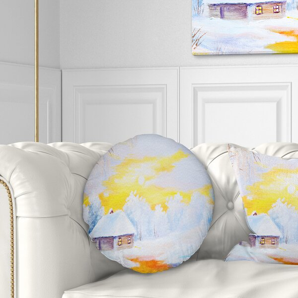 Landscape Frozen River in Winter Throw Pillow by East Urban Home