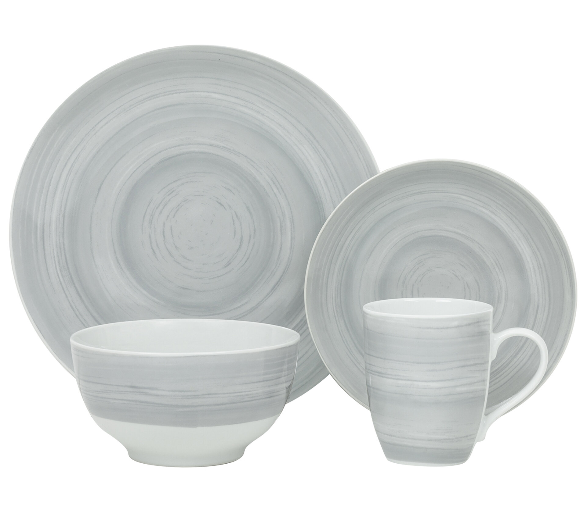 Gourmet Whiteware Collection White 18 Piece Rim Dinnerware Set
