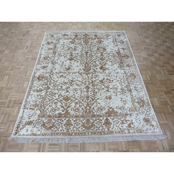 One-of-a-Kind Paden Hand-Knotted Beige Area Rug by Bloomsbury Market