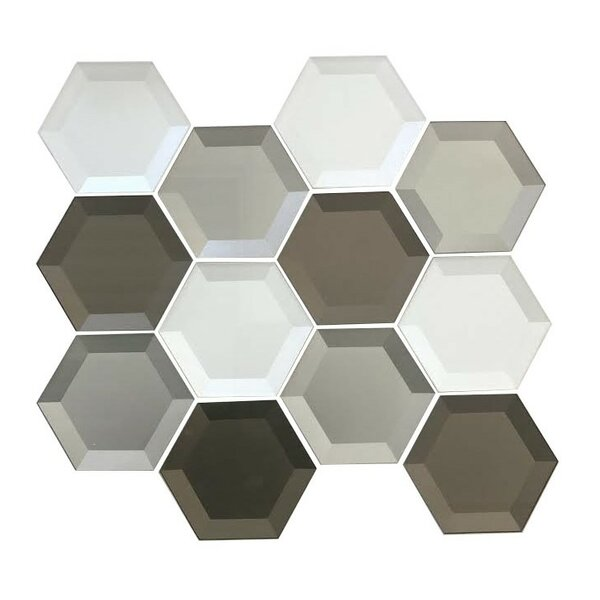 Secret Dimensions 3 x 3 Glass Mosaic Tile in Warm Gray by Abolos