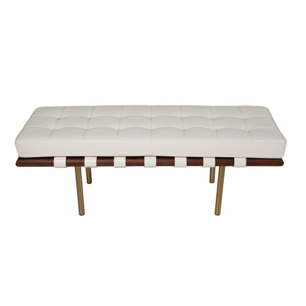 Supriya Upholstered Wood Bench by Everly Quinn