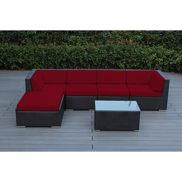 Baril 6 Piece Rattan Sunbrella Sectional Seating Group with Cushions by Wade Logan