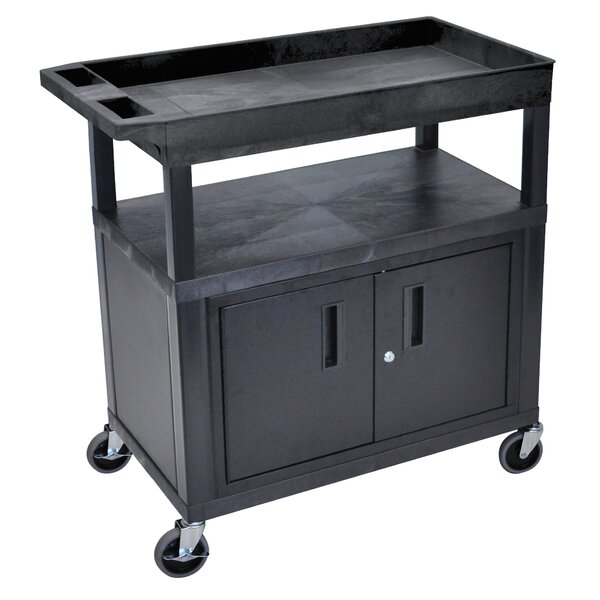 E Series AV Cart with 2 Tub/1 Flat Shelves/Cabinet and Electric by Luxor