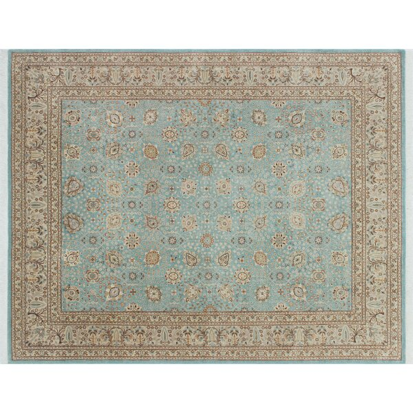 Arthen Hand Knotted Wool Premium Blue Area Rug by World Menagerie