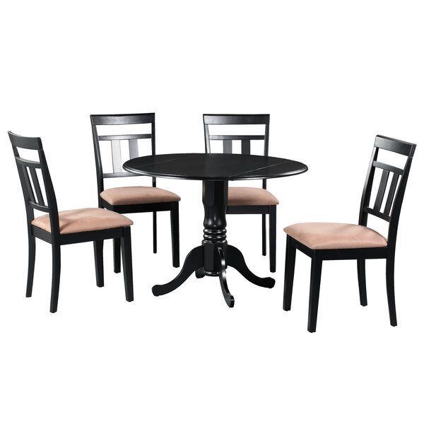 Ansonia 5 Piece Drop Leaf Solid Wood Dining Set in Black/Brown by August Grove