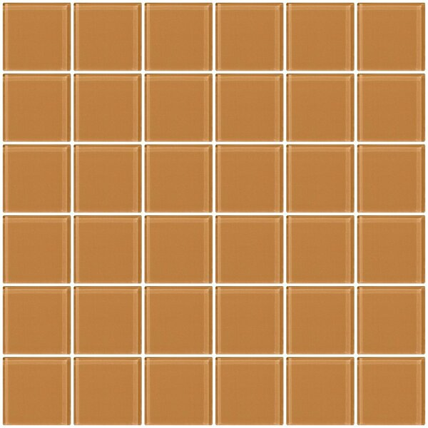 Bijou 22 2 x 2 Glass Mosaic Tile in Peach Beige Brown by Susan Jablon