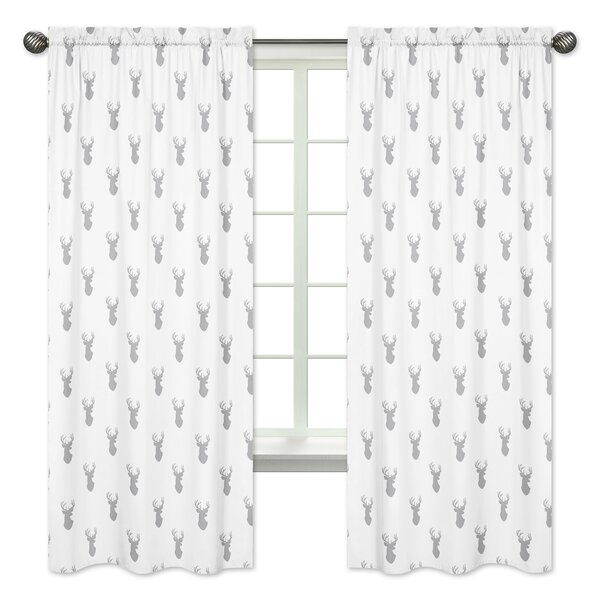 Stag Wildlife Semi-Sheer Rod Pocket Curtain Panels (Set of 2) by Sweet Jojo Designs