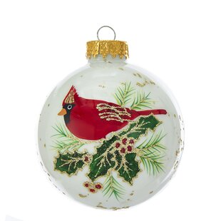 cardinal glass ball ornament set of 6