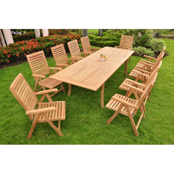 Ledya Luxurious 11 Piece Teak Dining Set by Rosecliff Heights