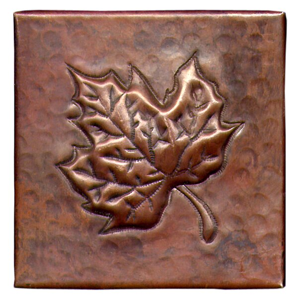 Maple Leaf 4 x 4 Copper Tile in Dark Copper by D'Vontz
