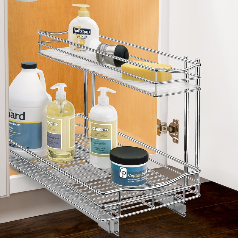 Charming Roll Out Under Sink Cabinet Organizer   Pull Out Two Tier Sliding Shelf    11.5 In