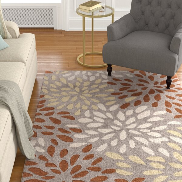 Carrie Hand-Tufted Rust/Lime Area Rug by Alcott Hill