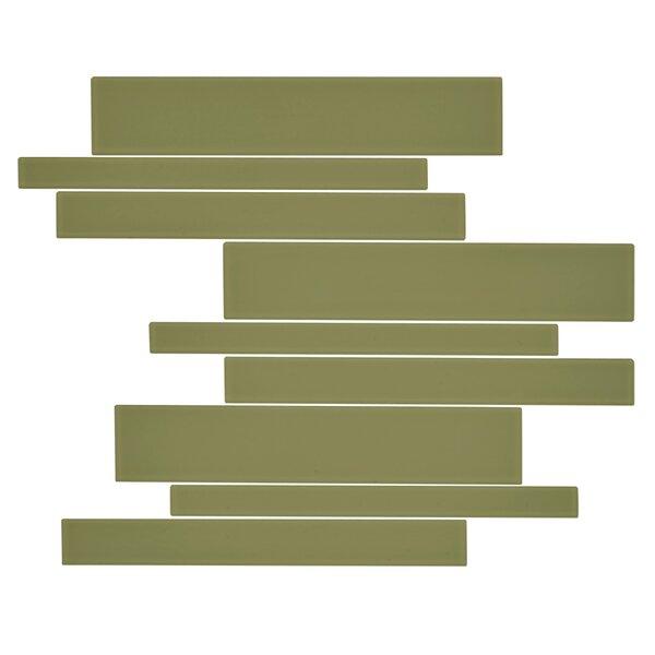 Linear Glass Random Sized Mosaic Tile in Moss by Kellani