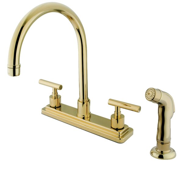 Double Handle Kitchen Faucet with Side Spray by Kingston Brass