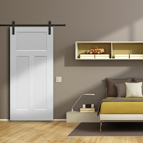 Craftsman MDF 3 Panel Primed Interior Barn Door by