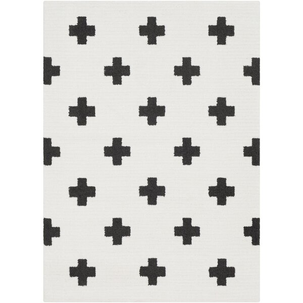 Elissa Boho Crafted Charcoal/White Area Rug by Ebern Designs