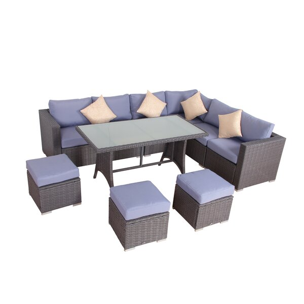 Millman Rattan 10 Piece Dining Set with Cushions by Brayden Studio