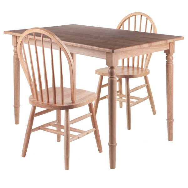 Maud 3 Piece Solid Wood Dining Set by Rosalind Wheeler Rosalind Wheeler