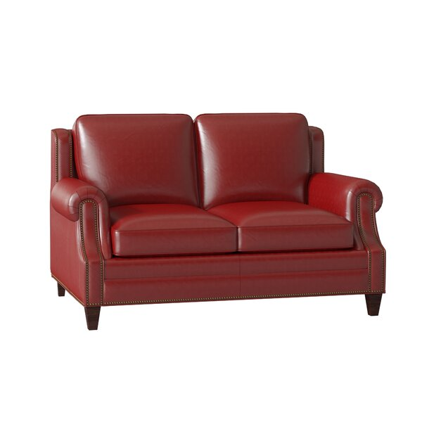 Large Selection Houck Leather Loveseat by Bradington-Young by Bradington-Young