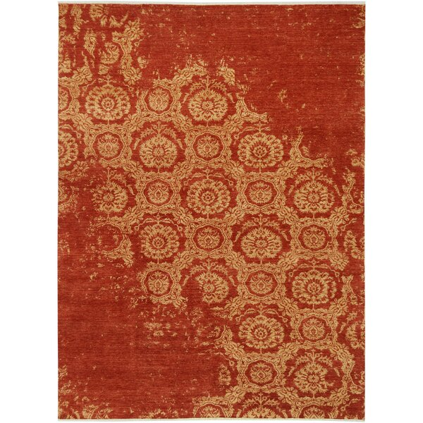 One-of-a-Kind Kaiden Abstract Hand Knotted Wool Red/Gold Area Rug by Bungalow Rose