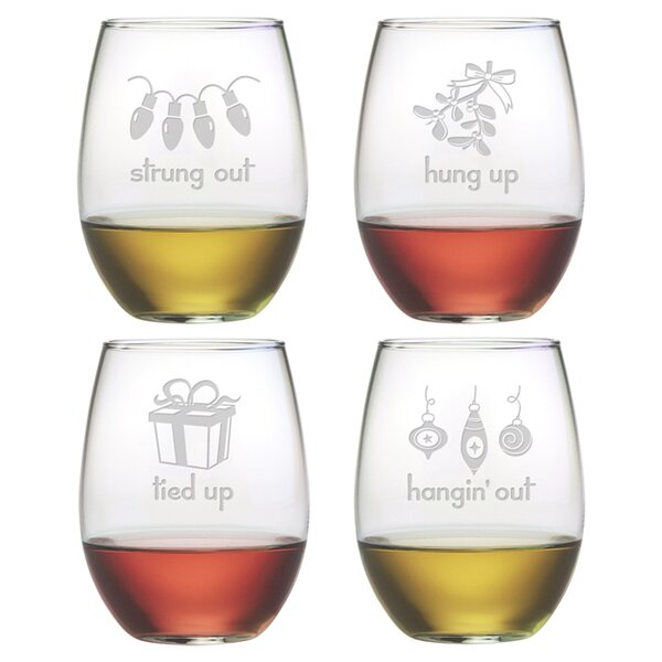 Holiday Hang Ups Stemless Wine Glass (Set of 4) by Susquehanna Glass