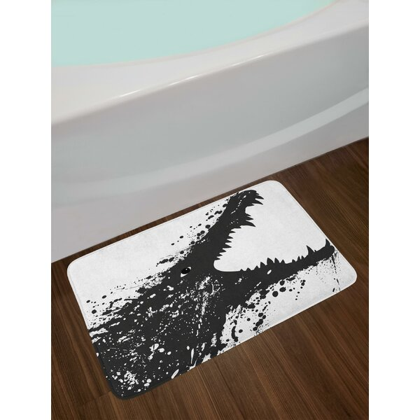 Black and White Crocodile Image with Grunge Drawing Style Attacking River Warrior Bath Rug by East Urban Home