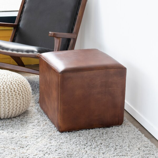 Guffey Leather Cube Ottoman By Union Rustic