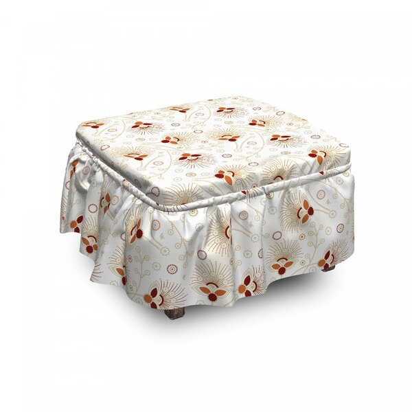 Chevrons And Flowers Ottoman Slipcover (Set Of 2) By East Urban Home