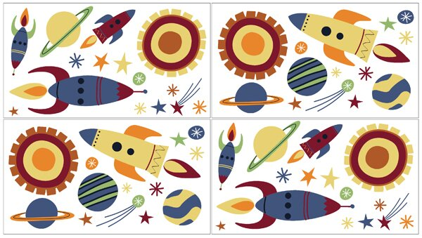 Space Galaxy 4 Piece Wall Decal Set by Sweet Jojo Designs