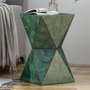 Beiler Tempered Glass Hourglass End Table