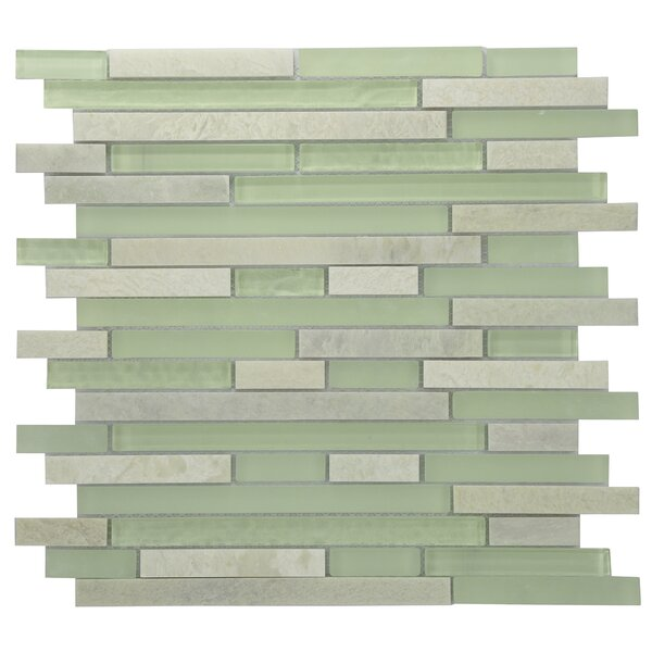 Modern Sleek Mixed Tile in Green/White by Byzantin Mosaic