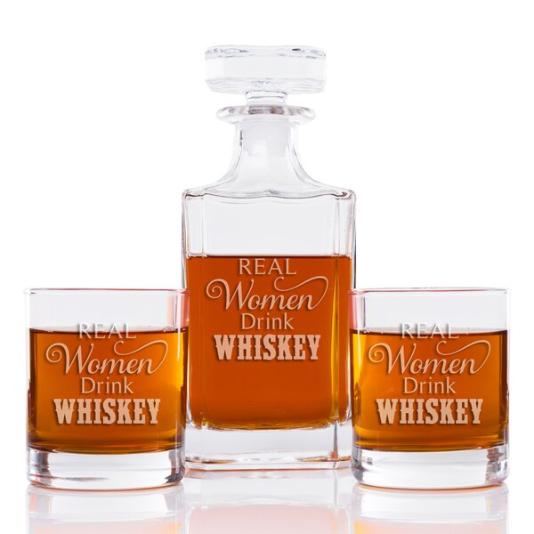 Real Women Drink Whiskey Classic Square 3 Piece Beverage Serving Set by East Urban Home
