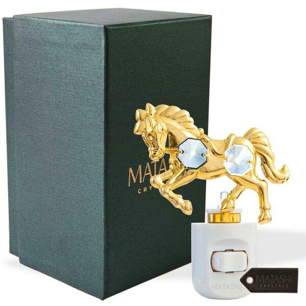 24K Gold Plated Crystal Studded Horse LED Night Light by Matashi Crystal