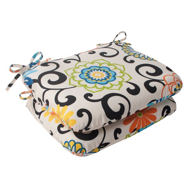 Pom Pom Indoor/Outdoor Seat Cushion (Set of 2) by Pillow Perfect
