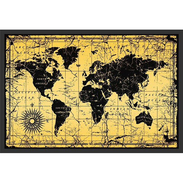 Buy Art For Less \'World Map Antique Vintage Old Style\' Framed ...
