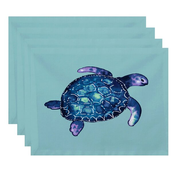 Geranium Sea Turtle Animal Print Placemat (Set of 4) by Bay Isle Home
