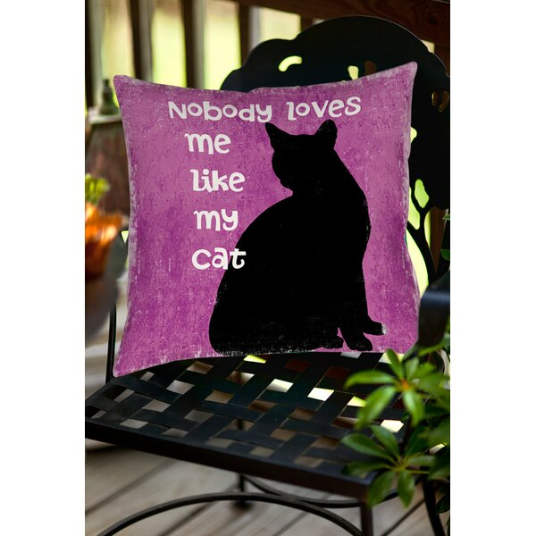 Nobody Loves Me Like My Cat Indoor/Outdoor Throw Pillow by Manual Woodworkers & Weavers