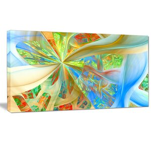 'Yellow Fractal Exotic Plant Stems' Graphic Art on Wrapped Canvas by Design Art