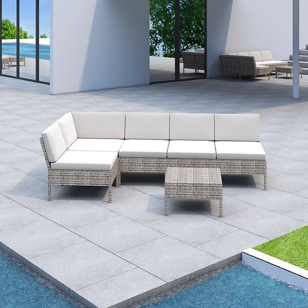 Bromborough 6 Piece Sectional Seating Group With Cushions By One Allium Way by One Allium Way No Copoun