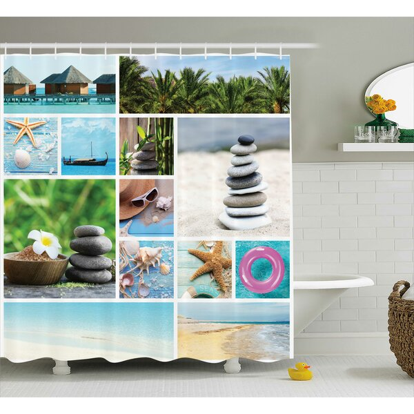 Winnie Spa Composition With Tropical Sandy Beach Ocean and Rock Views Relax Rest Image Shower Curtain by Highland Dunes