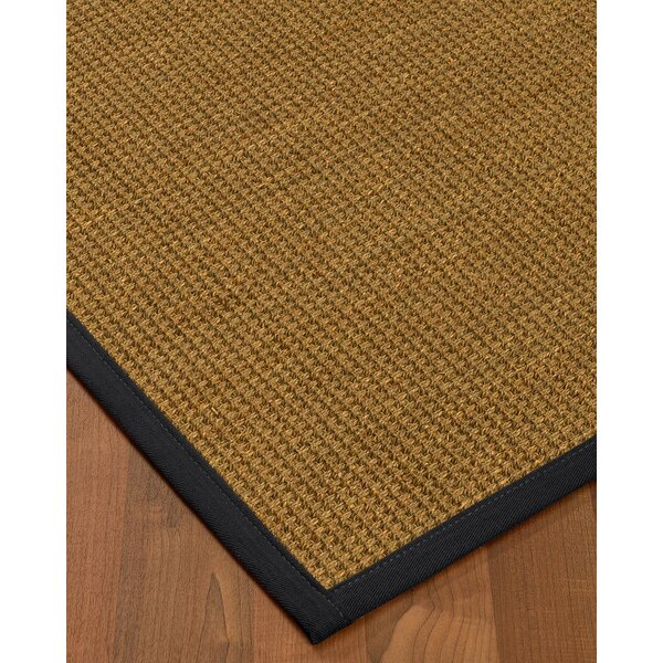 Chavez Border Hand-Woven Beige/Midnight Blue Area Rug by Rosecliff Heights