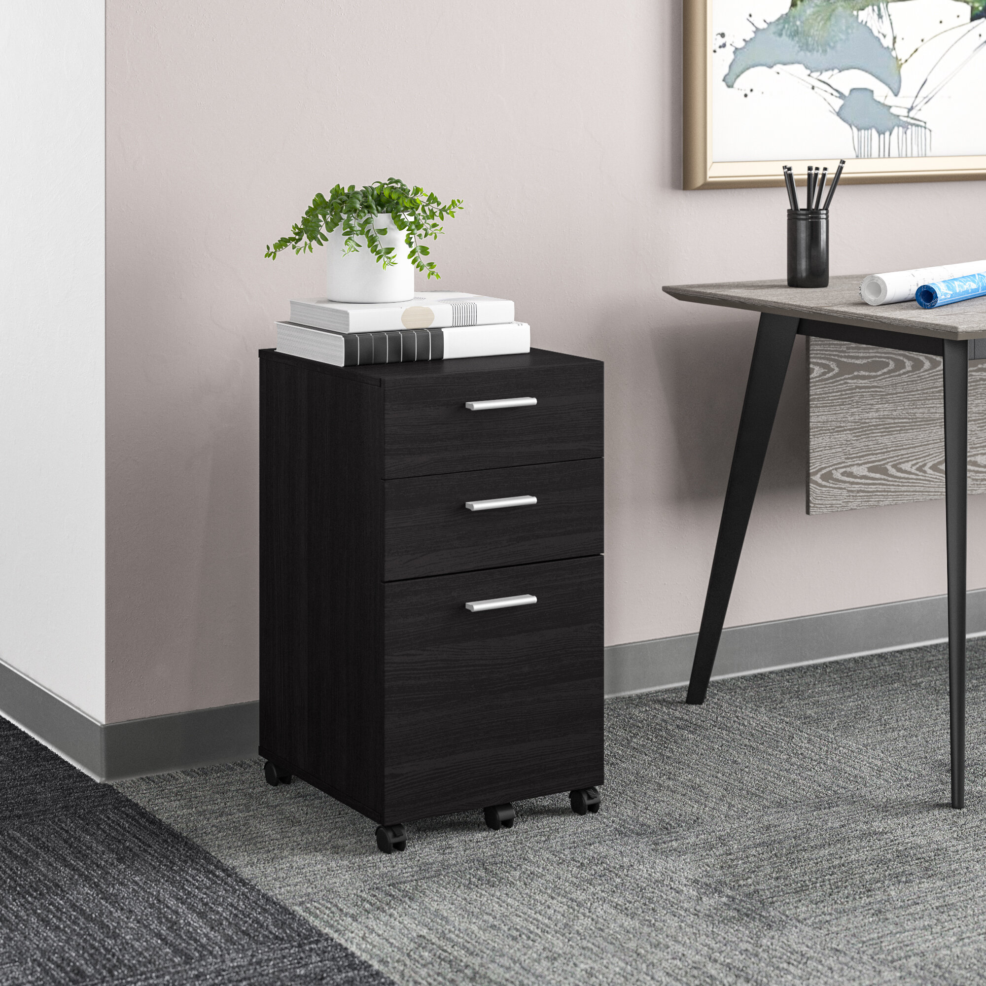 INTERGREAT Mobility Cabinet for Closet//Office Rolling Filing Cabinet 3 Drawers Fully Assembled White A