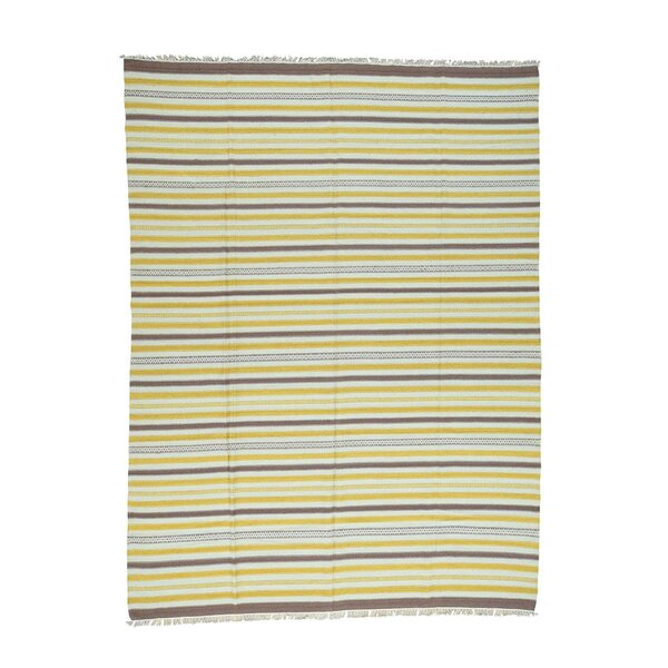 Striped Flat Weave Durie Kilim Hand-Knotted Mustard Yellow/Ivory Area Rug by Bloomsbury Market